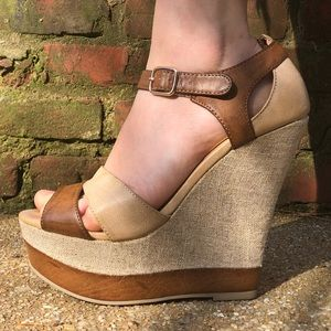 Brown wedge heel tall formal sexy straps summer